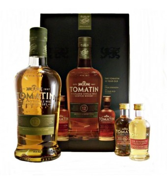 Tomatin 12 Year Old plus Cask Strength and 14 Year Old Miniatures