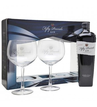 Fifty Pounds Gin with Two Glasses Gift Set